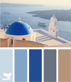 "From ""Santorini view"" Design Seeds to paint colors from Chip It! by Sherwin-Williams Bedroom colors? Design Seeds, Santorini, Mykonos, Decoration Palette, Bedroom Colors, Bedroom Art, Master Bedrooms, Master Bath, Bedroom Ideas"