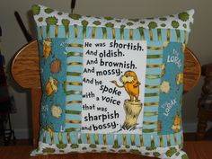 Quilted Dr Seuss Pillow   The Lorax EarthOrganic by BattyQuilter, $26.00
