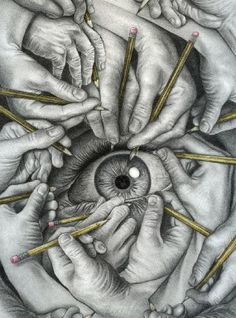 Drawing by an unknown in the style of MC Escher (the extended note on post was interesting, re the style differences between Escher & the actual artist). Art And Illustration, Art Illustrations, Drawing Eyes, Painting & Drawing, Drawing Hands, Deep Drawing, Drawing Artist, Figure Drawing, Cool Drawings