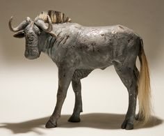 Black Wildebeest in Raku-fired Ceramic by Nick Mackman