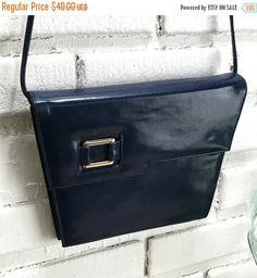 50% OFF Mastercraft Navy Blue Leather Purse Vintage Modern Retro Leather Purse compartments square leather strap shoulder bag canadian by TheOldJunkTrunk