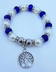 10mm Duke Blue Crystal Glass Bead with Faux Pearl & Tree Charm Stretch Bracelets