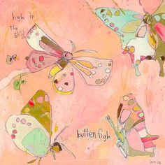 "Oopsy Daisy Sky High Butterflies Canvas Art Size: 21"" H x 21"" W x 1.5"" D"