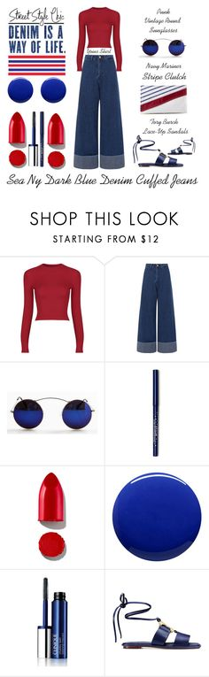"""""""Sea Ny Dark Blue Denim Cuffed Jeans"""" by latoyacl ❤ liked on Polyvore featuring Sea, New York, Rodin, Lauren B. Beauty, Clinique and Tory Burch"""