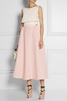 Emilia Wickstead                               Christian matelassé midi skirt
