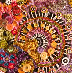 Embellished Art Quilts | contemporary beaded art quilts. quilts embellished with buttons and ...