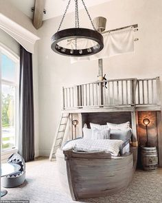 Ship ahoy! The boy's room has a wood ship for the bed with a balcony on top with a ladder ... Pirate Room Decor, Boys Pirate Bedroom, Pirate Bedding, Princess Room, Sateen Sheets, Thing 1, Bedroom Themes, Bedrooms, White Bedding
