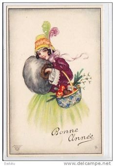 Vintage Christmas Card by Hannes Petersen ~ Purple Details Nouvel An, Vintage Christmas Cards, Illustrators, Auction, Stamp, Baseball Cards, Purple, Flowers, Painting