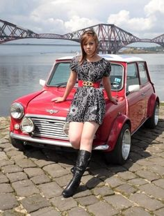 Posing in front of the Forth Rail Bridge, South Queensferry. Sexy Cars, Hot Cars, Car Girls, Pin Up Girls, Classic Mini, Classic Cars, Up Auto, Auto Rent, Mini Uk