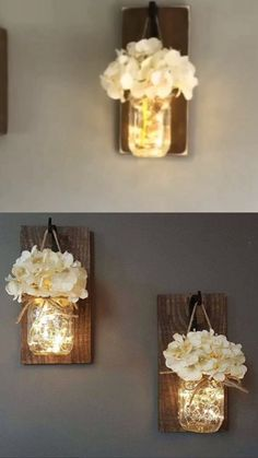 Mason Jars Sconce with Silk Hydrangea and LED Strip Lights Design 6 Hour Timer (Set of Jar Sconces are designed to add a fashion statement to any home wall. Whether you want to put them in your hallway, kitchen, near the TV, pictures or pain Pot Mason Diy, Mason Jar Crafts, Gifts With Mason Jars, Paint Mason Jars, Mason Jar Kitchen Decor, Mason Jar Projects, Rustic Mason Jars, Home Crafts, Diy Home Decor
