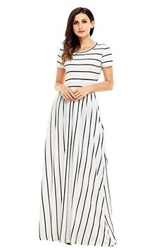 28651556db4 Lovezesent Women s Striped Round Neck Short Sleeve Maxi Summer Casual Dress  at Amazon Women s Clothing store