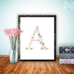 Floral monogram nursery Letter Art Print baby Girl flowers Wall Decor Nursery dorm Printable Initial, digital custom customized personalized...