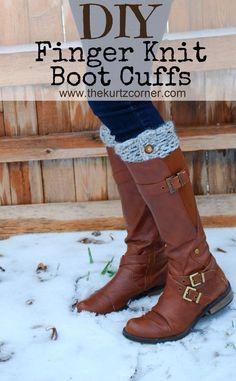 Finger Knit Boot Cuff Tutorial
