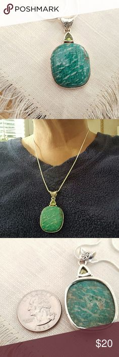 Russian Amazonite & Peridot Necklace Sterling Earth Art hand crafted artisan necklace in solid sterling silver setting hallmarked 925. Natural Russian amazonite Stone and faceted beautiful Peridot! Free silver chain. New! Always wear art! Earth Art hand crafted artisan Jewelry Necklaces