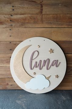 Moon & Stars Round Nursery Sign - Moon and Stars - Wood Sign - Name Sign - Nursery Decoration Moon Nursery, Star Nursery, Nursery Name, Nursery Signs, Girl Nursery, Nursery Decor, Nursery Wood Sign, Clouds Nursery, Wooden Name Signs