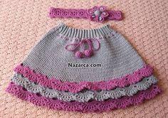 tig-kiz-cocuk-etek-ve-sac-banti-modelleri---- klikni je tam fotopostup aj schéma vzoru Knitting For Kids, Crochet For Kids, Baby Knitting, Crochet Baby, Knit Crochet, Knitted Baby, Crochet Woman, Baby Girl Skirts, Baby Skirt