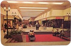 Grand Rapids, Michigan - 1970's   You can just make out a bird cage down at the other end of the mall, and just off the red carpet in the f...