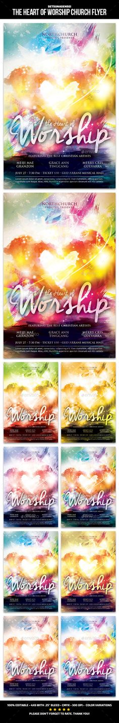 Buy The Heart of Worship Church Flyer by SetsunaSensei on GraphicRiver. The Heart of Worship Church Flyer This flyer is perfect for promoting your church upcoming sermon about the heart of . Worship Night, Praise And Worship, Flyer Design Templates, Flyer Template, Gospel Concert, Concert Flyer, Flyer Layout, Print Fonts, Heart