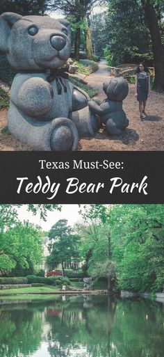 Teddy Bear Park Dallas Travel Guide Teddy Bear Park might just be one of the best kept-secrets in Texas. Located in Lakeside Park (Dallas), Teddy Bear Park is too cute for words. With larger-than-life teddy bear statues in a fairytale backdrop (think tall West Texas, Texas Hill Country, Dallas Texas, Austin Texas, Texas Vacations, Texas Roadtrip, Texas Travel, Travel Usa, Family Vacations