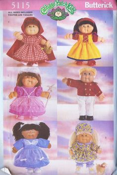 CABBAGE PATCH KIDS FAIRYTALE COSTUMES SEWING PATTERN 5115 BUTTERICK 14 IN UNCUT | eBay