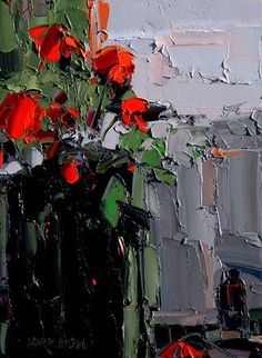 Still Life, Landscape, Abstracts. Художник Barbara McCann (U. Beautiful Paintings Of Flowers, Oil Painting Flowers, Abstract Flowers, Abstract Landscape, Abstract Art, Red Art, Still Life Art, Art For Art Sake, Texture Art