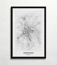 Warszawa - Czarno-biała mapa | Sklep ePlakaty.pl