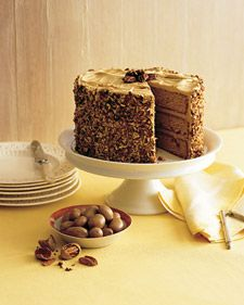 Butterscotch-Pecan Cake hides a secret underneath its pecan sheath: brown-butter frosting and butterscotch-soaked layers spiked with rum, both of which make familiar flavors seem sophisticated.