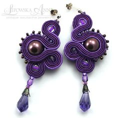 soutache - earrings love the purple! Jewelry Sets, Diy Jewelry, Beaded Jewelry, Jewelery, Jewelry Design, Jewelry Making, Unique Jewelry, Soutache Necklace, Beaded Earrings