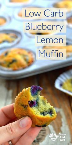 Low Carb Blueberry Lemon Muffin | http://www.grassfedgirl.com/low-carb-lemon-blueberry-muffin-recipe/