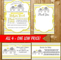 Elephant Baby Shower Invitation Yellow Set, Diaper Raffle, Books for Baby, Thank You Card, Neutral Baby Shower, EL001C