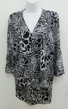 Cato Sz Small Black White Animal Print  Ruffle Layered High Low Blouse B275 #Cato #Blouse #EveningOccasion