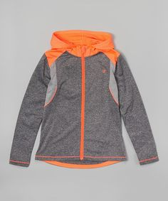 Loving this Granite Heather & Orange Hi-Los Hoodie - Girls on #zulily! #zulilyfinds