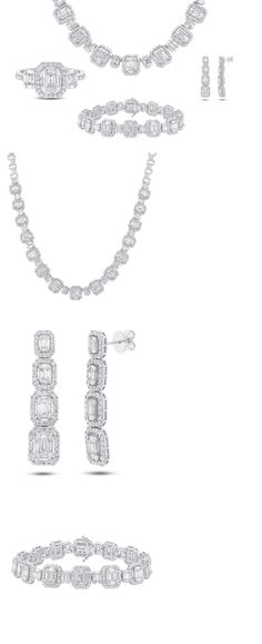 Diamonds and Gemstones 164326: 18K White Gold Necklace Ring Bracelet Earring Baguette Diamond Jewelry Set BUY IT NOW ONLY: $37500.0