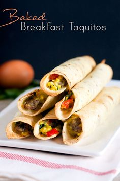 Baked Breakfast Taquitos--will prob change filling a bit. Love the idea of freezing them to reheat later!