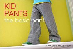 Kid Pants, the basic pants   MADE  Great pattern used for pajamas and they turned out amazing! Very simple, I will make an other pair with seersucker too for church :-)