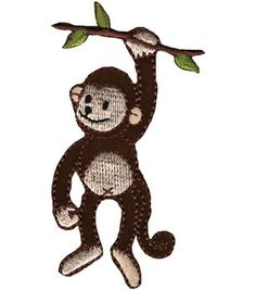 "Wrights Iron-On Appliques-Monkey On Branch 2""X3-1/4"" 1/Pkg"