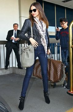 Miranda Kerr | leather jacket + skinny jeans + black pointed toe, stiletto booties + scarf + hair - down and straight