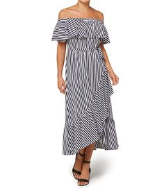 a251aeb18c Off the shoulder neckline makes the Stripe Statement Dress the ultimate  summer staple. This stripe cotton dress features elastic neckline
