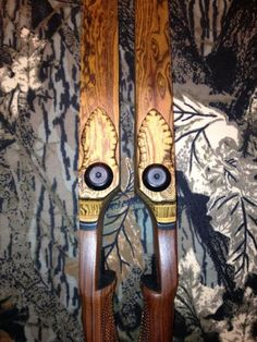 """These twin bows are called """"Hope"""" & """"Faith"""". Both are Sarrels Archery Blueridge S/R, 60"""", 54# @ 28"""" made from Pau Ferro and Bocote."""