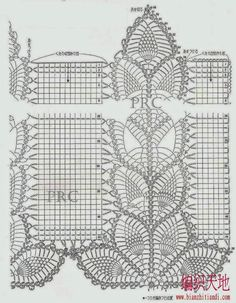 Making it : Crochet Pineapple sweater Filet Crochet Charts, Crochet Borders, Crochet Stitches Patterns, Crochet Motif, Crochet Doilies, Crochet Flowers, Stitch Patterns, Crochet Curtain Pattern, Crochet Bedspread
