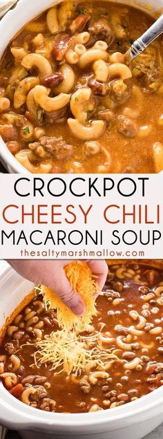 Crockpot Cheesy Chili Macaroni - This hearty and easy to make dinner combines cheesy chili and macaroni soup right in your slow cooker! The best chili-mac you'll ever have turned into an amazing soup loaded with beef, beans, cheese, and macaroni! Crock Pot Recipes, Crock Pot Food, Crockpot Dishes, Slow Cooker Recipes, Cooking Recipes, Chili Mac Crockpot, Easy Crockpot Soup, Chili Mac Recipe, Crock Pot Chili