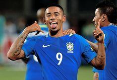 Gabriel Jesus celebrating his goal in Peru vs Brazil match 0-2