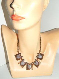 """Vintage 17"""" Long Copper Necklace w/Gold Flake Pink Speckle Slag Glass Pendants #Unbranded"""