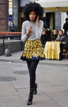 boots + tights +bright/short ruffled skirt + simple top = wonderful