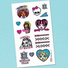 Tattooos. MONSTER HIGH BIRTHDAY PARTY SUPPLIES ~ PICK A PARTY, FREE SHIPPING | eBay
