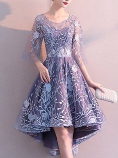 1e396cc1c30 Online Shopping Stylewe Floral Dresses Vintage Dresses Party   Evening High  Low Crew Neck Embroidered Half Sleeve Vintage Dresses