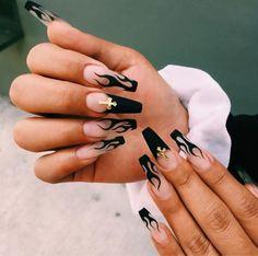 Black Gel Nails, Acrylic Nails Coffin Short, Edgy Nails, Simple Acrylic Nails, Best Acrylic Nails, Cute Acrylic Nail Designs, Stylish Nails, Dope Nails, Swag Nails