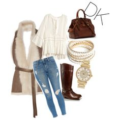 Untitled #4 by donakaran on Polyvore featuring polyvore, fashion, style, H&M, Karl Donoghue, Frame Denim, Tory Burch, ZooShoo and Michael Kors