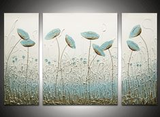 Image Detail for - Wisper Triptych - The Sculpture Room Glue Painting, Painting Edges, Diy Wall Art, Canvas Wall Art, Hot Glue Art, Hand Art, Painted Paper, Triptych, Flower Art