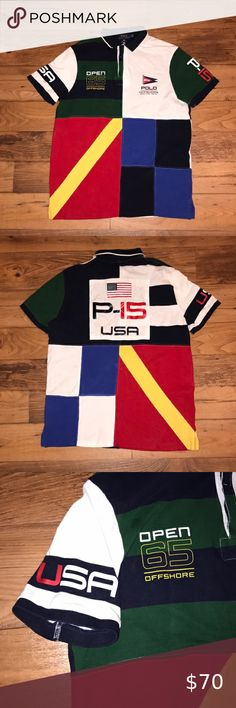 Ralph Lauren Men's Custom Slim Fit Polo Shirt Moscow Number 3 Black Red Size XL